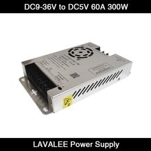 LAVALEE-fuente de alimentación de pantalla LED para vehículo, entrada DC10 ~ 35V a DC 5V 60A 300W, para coches, pantalla LED, ASD-12D5N60A300DT