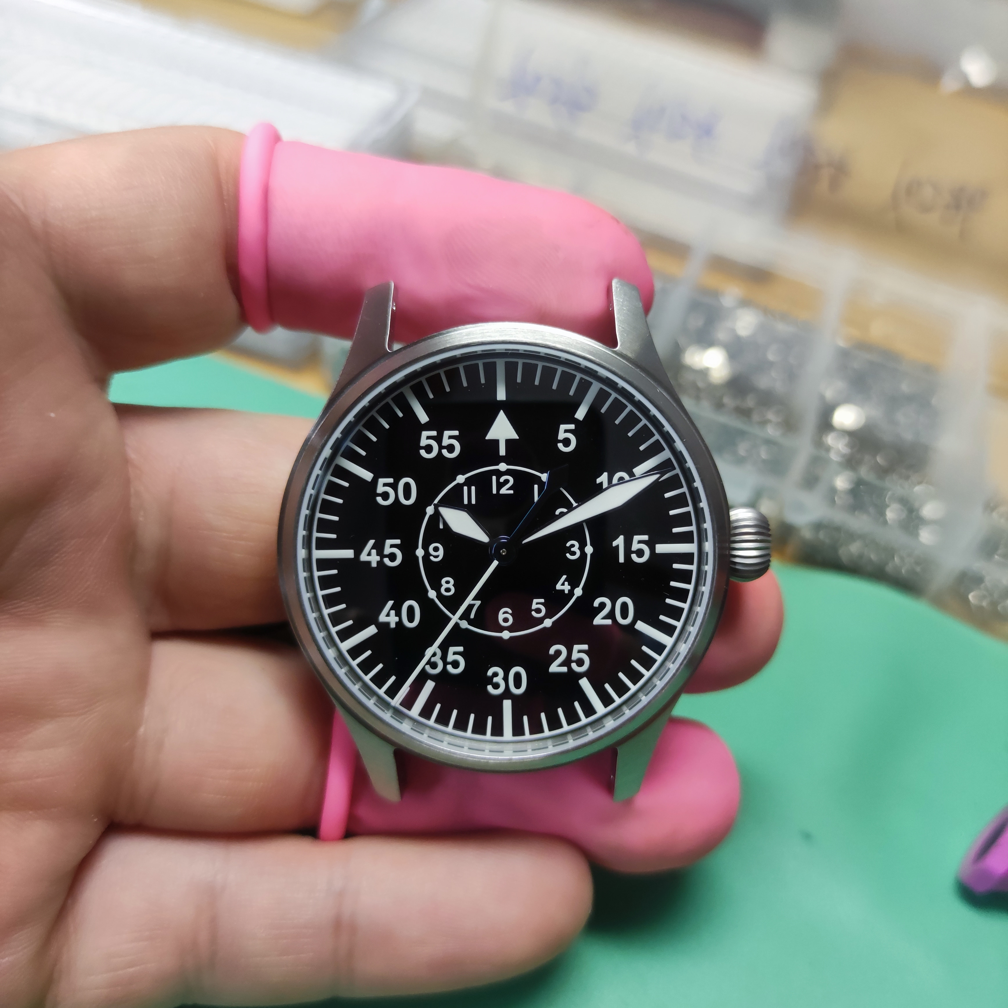 【Escapement Time】Automatic PT5000 Movement Pilot Watch with Type-B  Black Dial and 40mm Case wat