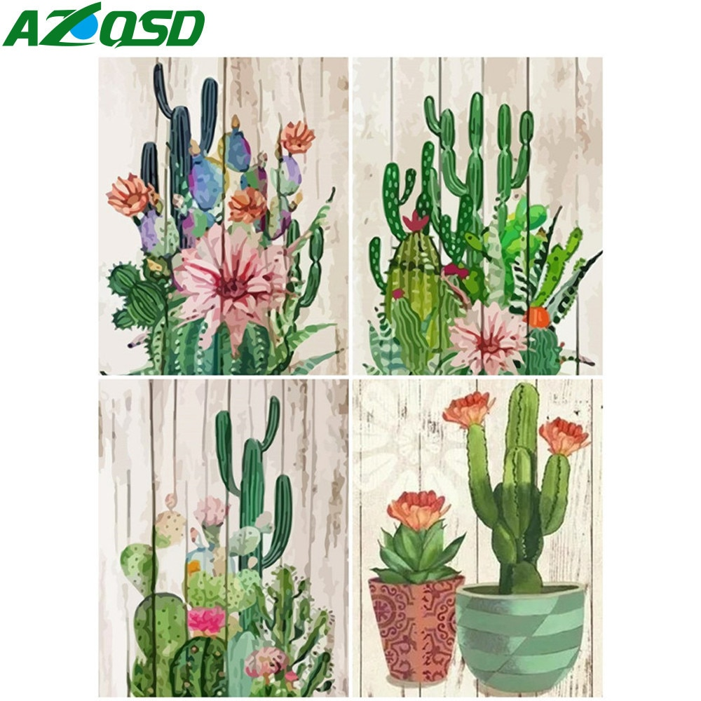 AZQSD Oil Painting By Numbers Plant Drawing On Canvas Picture Number Flower Kits Acrylic Modern Wall Art Gifts