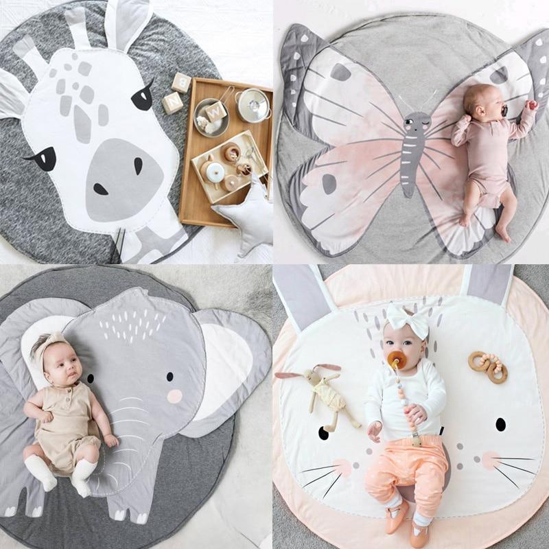 Tapete do bebê dos desenhos animados animais tapetes do bebê recém-nascido infantil rastejando cobertor de algodão redondo piso tapete adereços crianças quarto berçário decoração