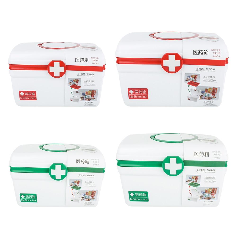 Caja de primeros auxilios grande portátil de 2 capas, Kit de supervivencia de emergencia, organizador de píldoras médicas, almacenamiento de medicinas de rescate para viaje en casa al aire libre