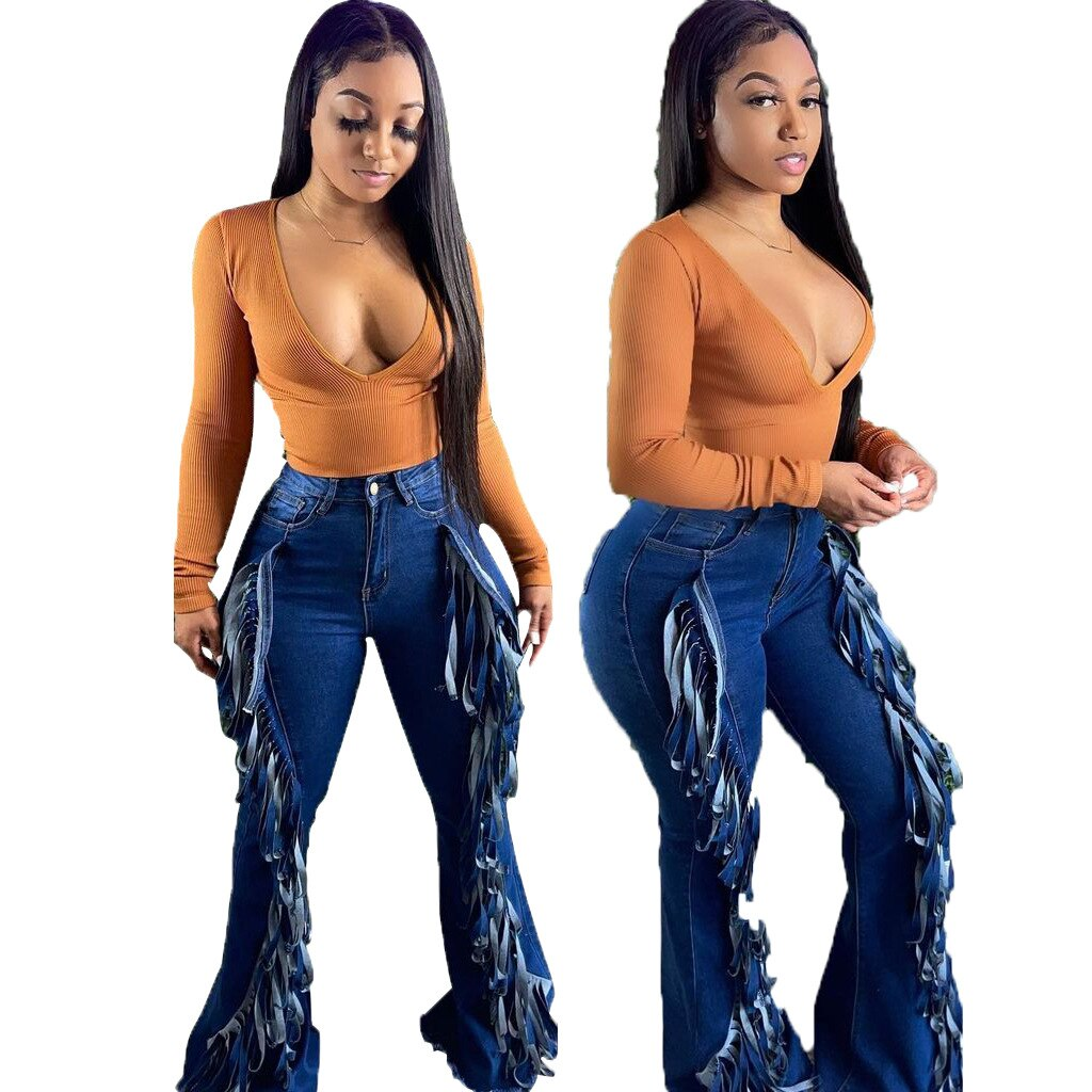 Sexy Fashion Flared Pants Tassel Jeans Super Stretch Jeans Women's Slim Jeans Plus Size Jeans Beautiful Clothes Women's Pants