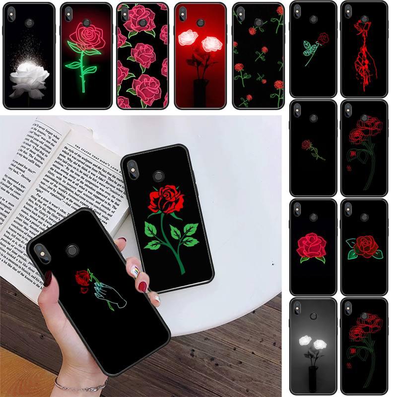 Maiyaca Glowing rose in the dark Soft Silicone Black Phone Case For Xiaomi Redmi 4X 5A 6A 6 7 8 9 5Plus Note5 5A 8Pro 8T
