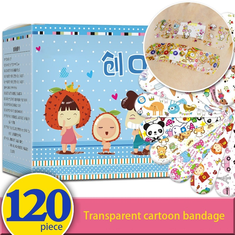 120pcs Band Aid Wound Dressing Sterile Hemostasis Stickers First Aid Bandage Emergency Kit Adhesive Medical Plaster Cute Cartoon 50pcs band aid breathable first aid bandage waterproof hemostasis cushion adhesive wound dressing emergency plaster
