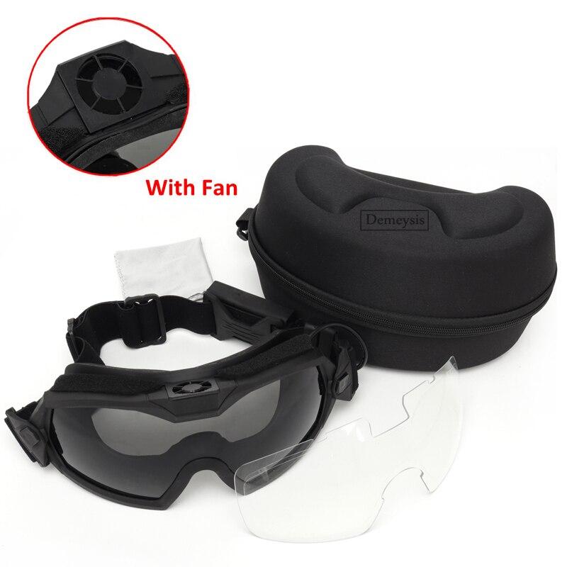 نظارات التكتيكية مع مروحة مكافحة الضباب العسكرية Airsoft الألوان سلامة العين نظارات حفظ نظر النظارات