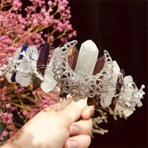 Crystal Crown Festival Crown Crystals Tiara Hair. Headpiece Moon Moonchild Fairytale Quartz Crown Rainbow