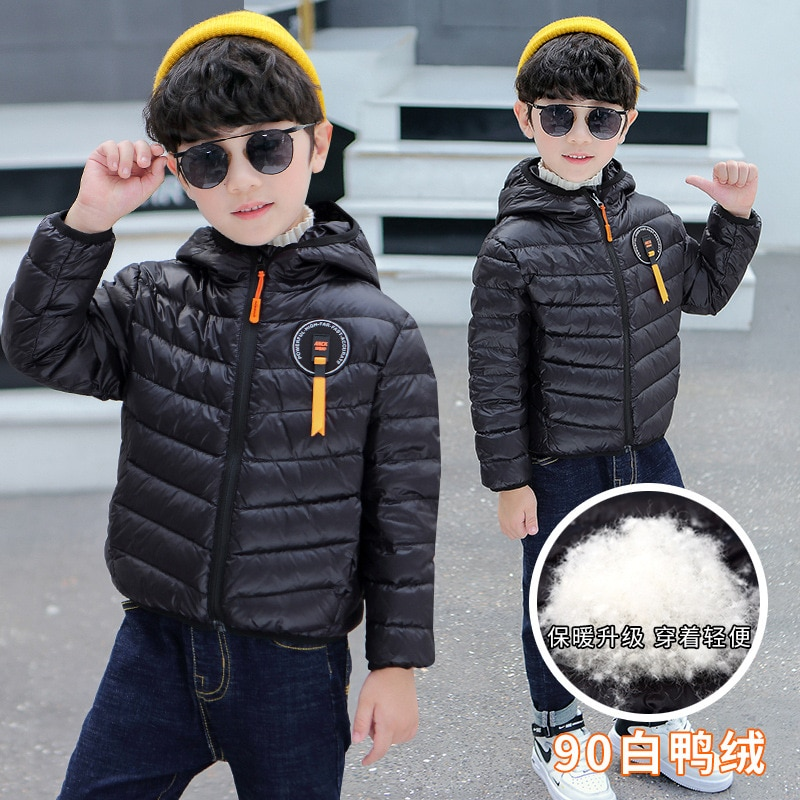White Duck down 90% down jacket autumn and winter boys' tops medium and older children's jacket baby light trendy Western style enlarge