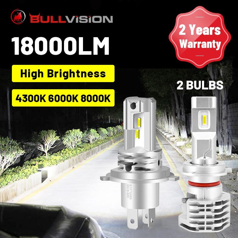 بولفيجن-مصابيح أمامية للسيارة LED ، مصابيح أمامية للسيارة مع رقائق CSP ، مقبس 12 فولت ، H7 H4 H8 H9 9005 9006 HB3 HB4 4300K 6000K 8000K