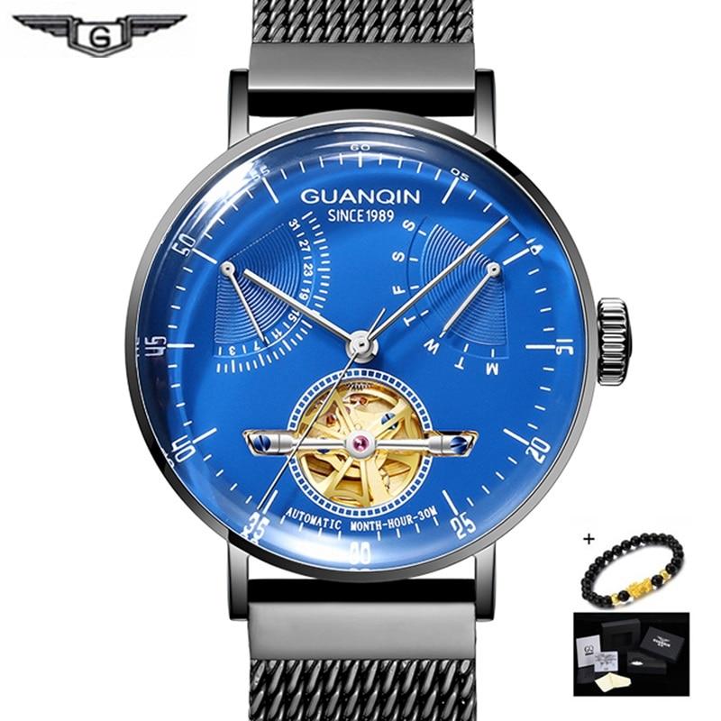 GUANQIN שלד אוטומטי מכאני שעוני יד שעון גברים שעונים למעלה מותג יוקרה פלדת توربيون שעון גברים Relogio Masculino