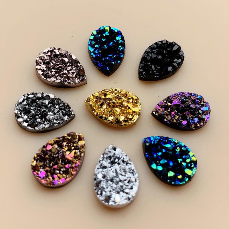 Diy 50 Stuks 9*13 Mm Glitters Ab Kleuren Minerale Oppervlak Resin Plaksteen Cabochon Diy Bruiloft Decoratie ambachten-A57