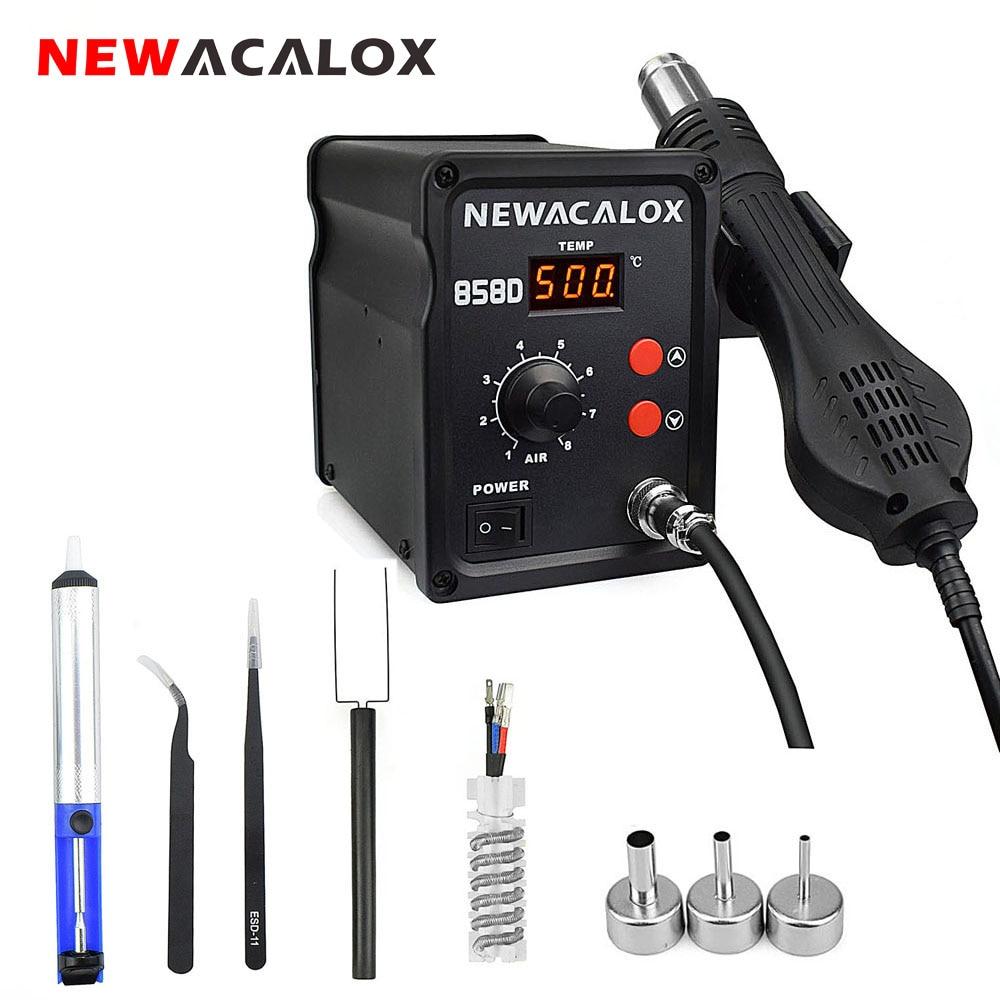 NEWACALOX 858D 700W EU/US 100-500 Degree Hot Air Rework Station Thermoregul LED Heat Gun Blow Dryer for BGA IC Desoldering Tool