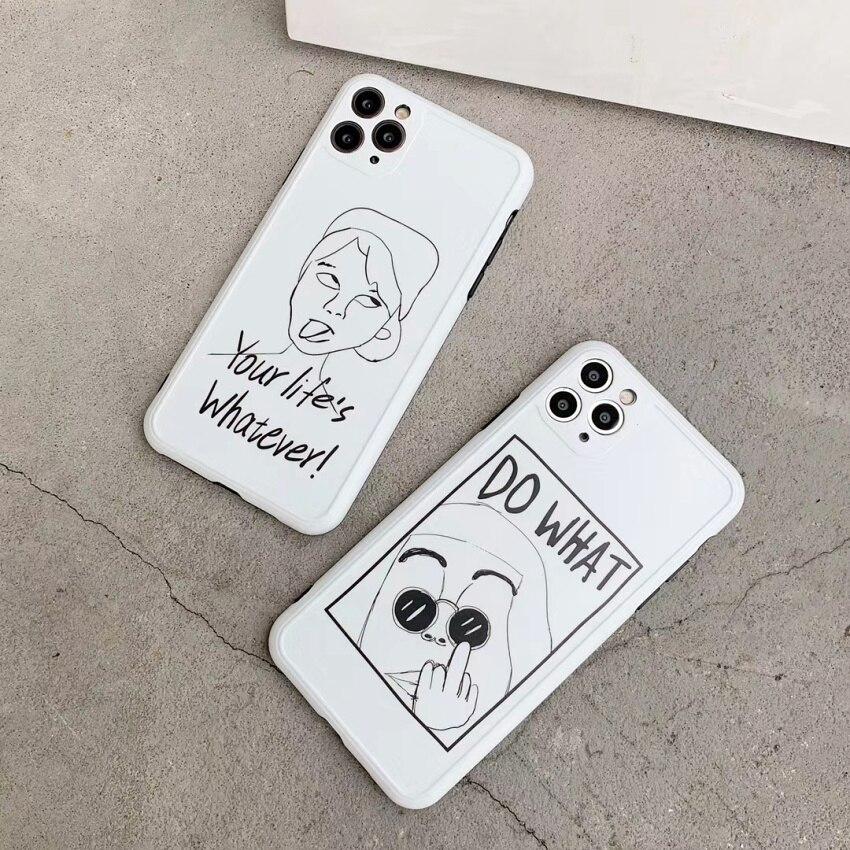 Funda de teléfono de dibujos animados de expresión de personajes específicos para iPhone SE 2020 11 Pro Max X XR XS Max 8 7 Plus Cool cubierta protectora Linda