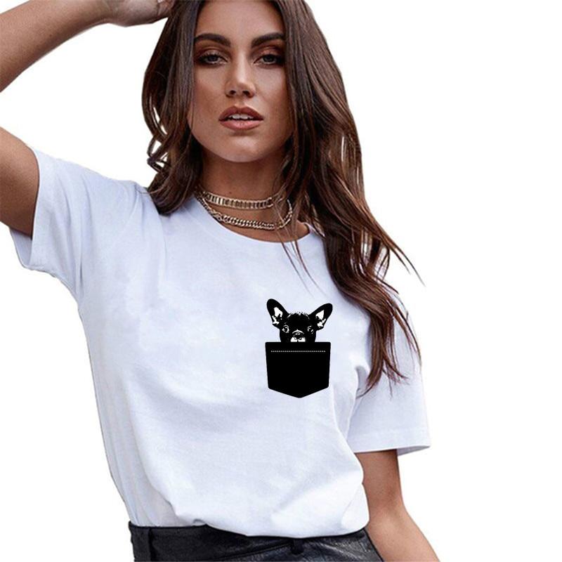 Grappige Leuke Franse Bulldog T-shirt Vrouwen Vogue Witte T-shirt 100% Katoen O-hals Zomer Casual Korte Tops Esthetische Shirt