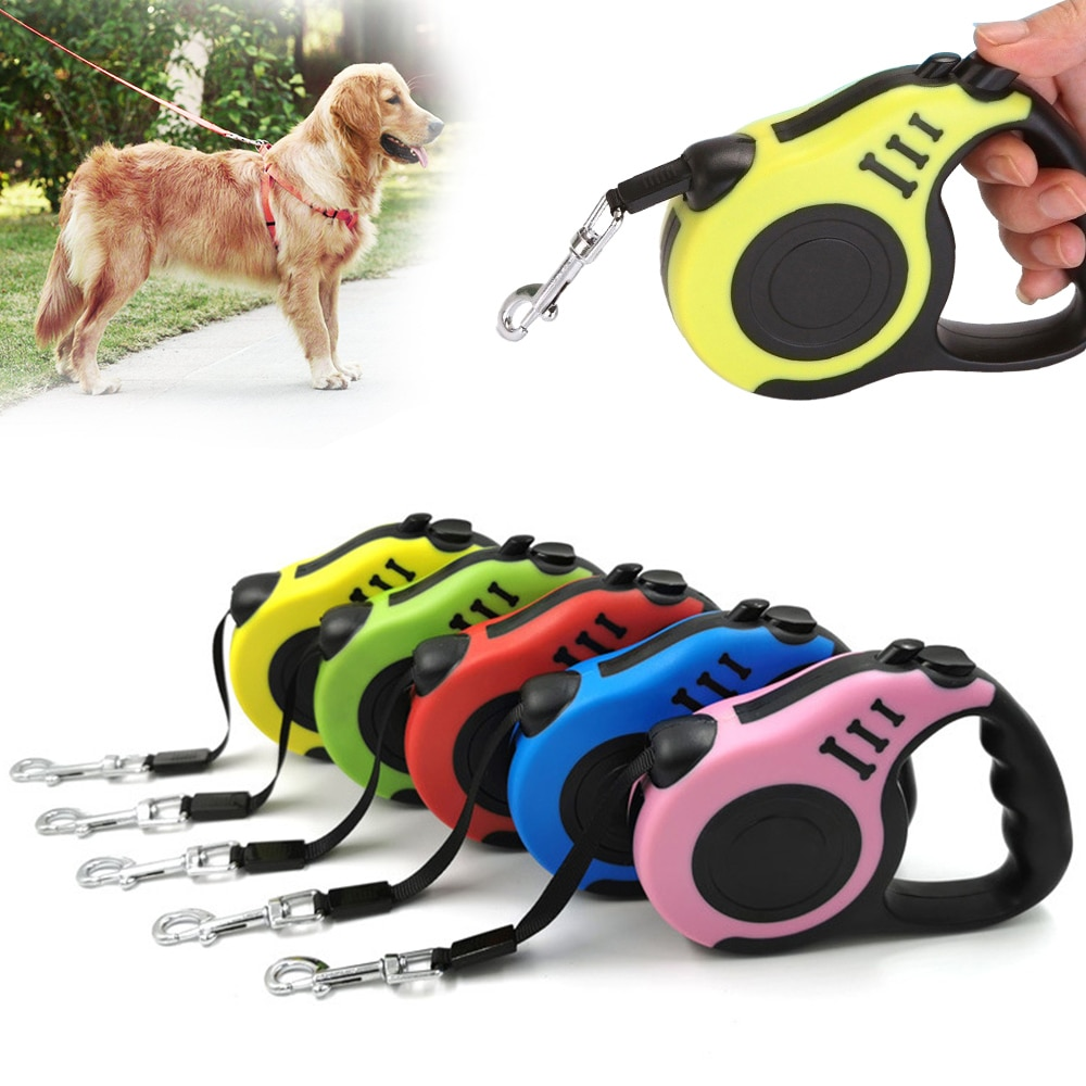 3m/5m Durable Dog Leash Automatic Retractable Dog Roulette Nylon Dog Collar Extension Puppy Walking Running Lead Dog Accessories