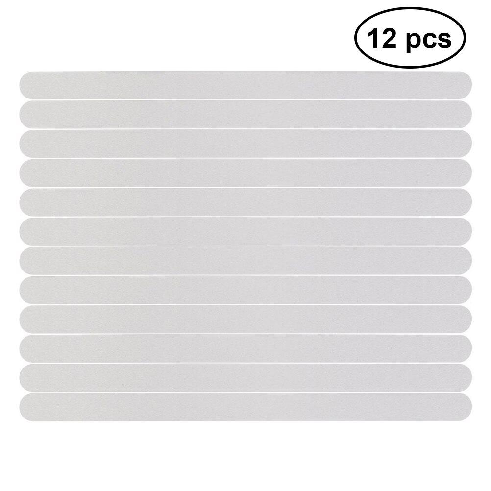 12 pçs anti deslizamento banho aperto adesivos antiderrapante tiras de chuveiro piso fita de segurança tapete 38x2cm (branco)