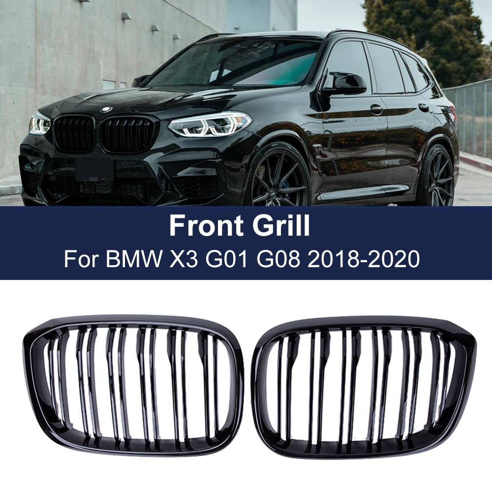 2PCS Front Grille Kidney Grill Double Slat For BMW 3 4 X3 X4 G01 G02 G08 2018 2019 2020 Racing Grills Car Styling Accessories недорого