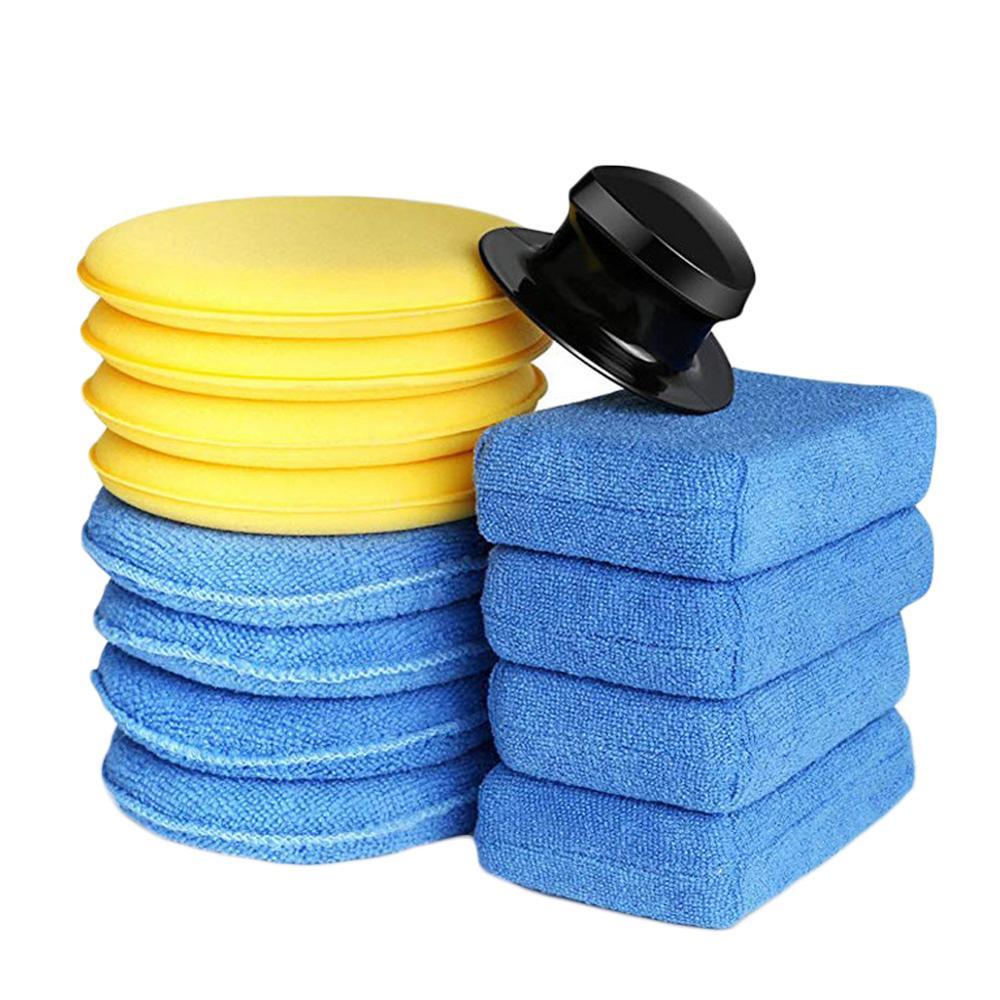 13Pcs Soft Microfiber Car Polishing Waxing Sponge Detailing Care with Handle Applicator Waxing Pad Auto Care Supplies недорого