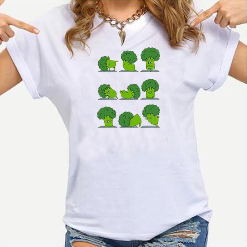 Harajuku-Camiseta con estampado Vegano para Mujer, blusa de talla grande con dibujos...