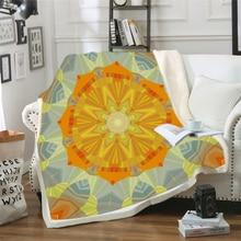 Bohemian Blanket for Beds Floral Paisley Thin Quilt Sky Blue Mandala Bedspread 130x150cm Fleece Throw Blanket