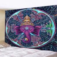 colorful pattern elephant tapestry 3d mosaic hippie boho wall decoration mandala fabric carpet living room bedroom decoration