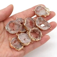 natural agated druzy pendants gold plated double hole connectors for charm jewelry make diy girls necklace bracelet gifts