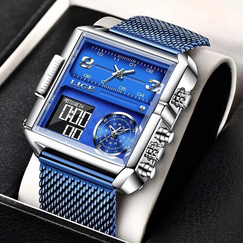 2021 LIGE Sports Watches Men Top Luxury Brand Waterproof Wristwatch Quartz Analog Military Digital Relogio Masculino