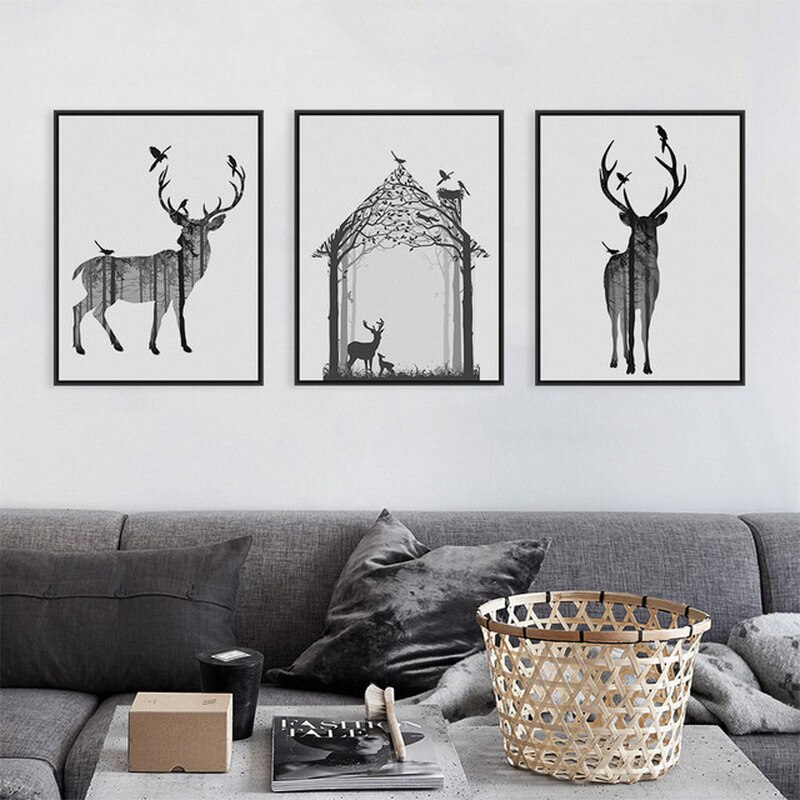 Nursery Animal Moose Deer Canvas Painting Kawaii Wall Art Poster Print Nordic Woodland Picture Kids Baby Girls Room Home Decor