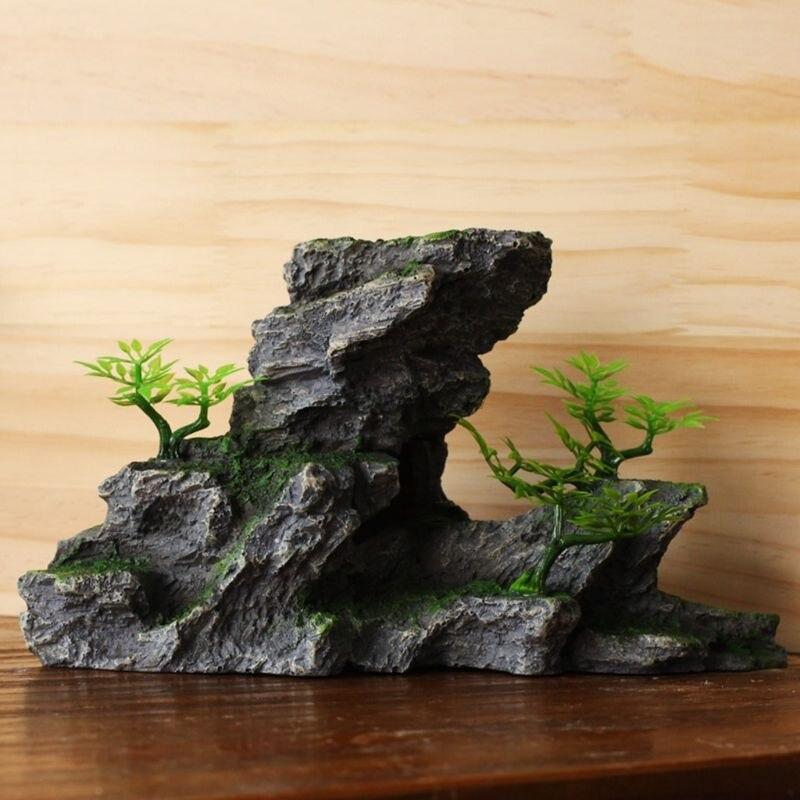 Aquarium Landscape Resin Mountain View Stone Fake Plant Grass Fish Tank Ornament 35EE