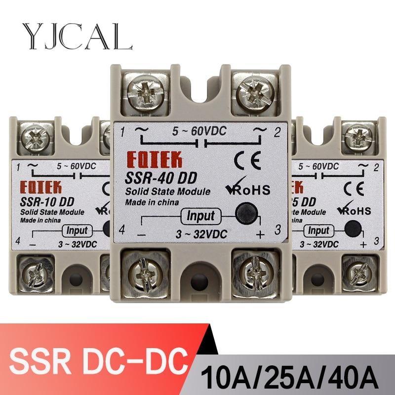 Solid State Relay Module DC 5-60V SSR-10DD SSR-25DD SSR-40DD 10A 25A 40A Input 3-32V DC Output High Quality недорого
