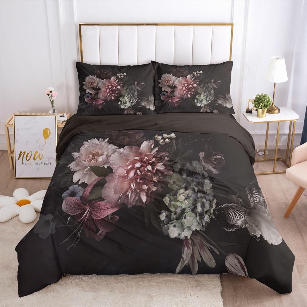 Bedding Set King/Queen Size Duvet Cover Pillowcases Comforter Quilt Blanket Cover Luxury 3D HD Printed Reactive Black Flowers