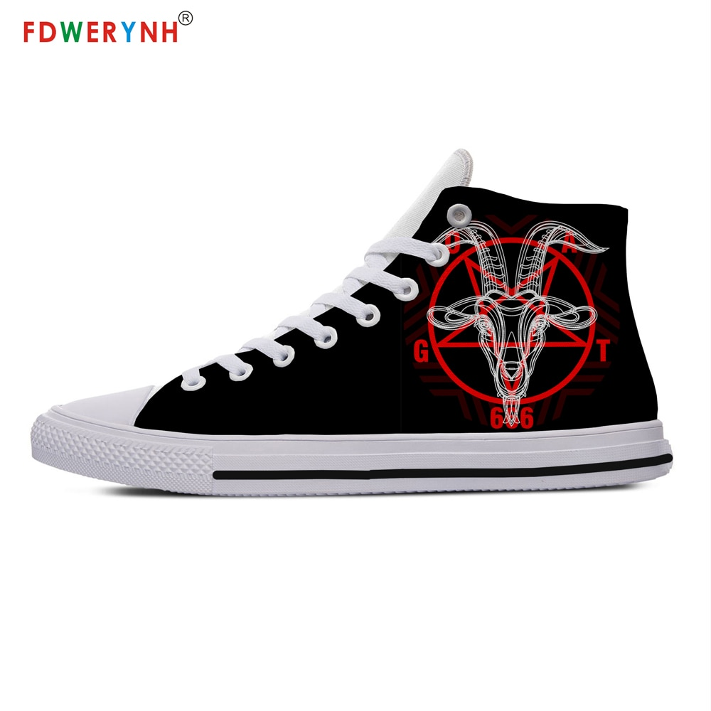 Pentagram Band Logo Off White Shoes Customized Printed High-top Canvas Shoes Breathable Casual Lace-up Shoes Sneakers Women