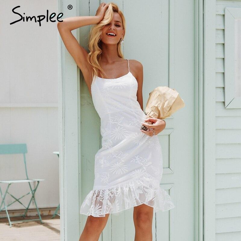 Simplee elegante babados hem renda malha vestido de verão sem costas rendas até sexy bodycon mini vestido feminino festa club wear vestidos