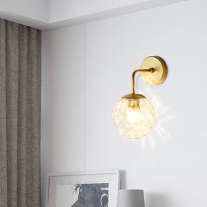 Nordic Glass Wall Lamp Gold/Black Beauty Light Luxury Aisle Staircase Living Room Background Wall Water Pattern Wrought Wall