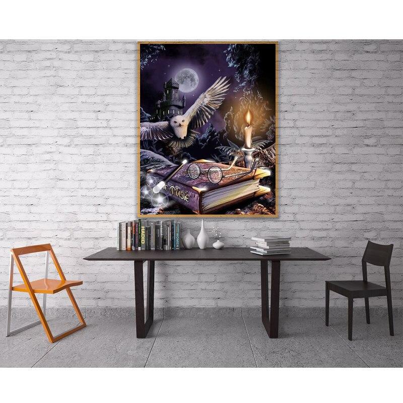DIY 5D Harry Potter libro de búhos Luna Llena diamante pintura punto de cruz kits de arte dibujos animados pintura 3D por diamantes