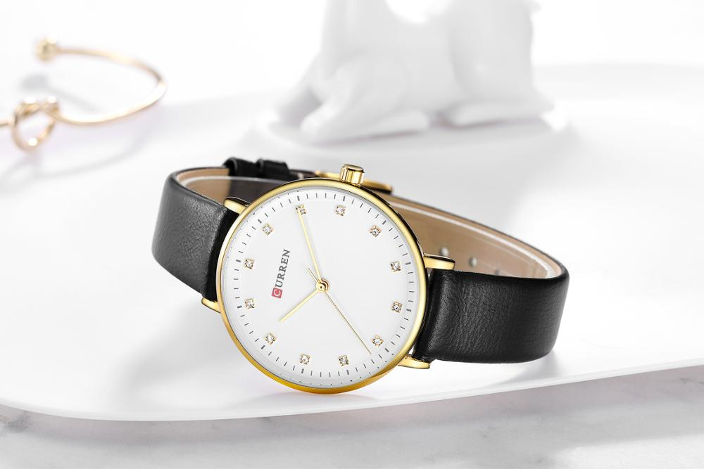 CURREN Women Watches Top Brand Luxury Casual Wrist Watches High Quality Black Leather Rhinestone Design Waterproof Montre Femme enlarge