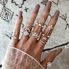 NEWBUY 12 pièces/ensemble classique anneau doré cristal géométrie gemme couronne ouverte Joint anneaux ensemble femmes charme fête bijoux de mariage