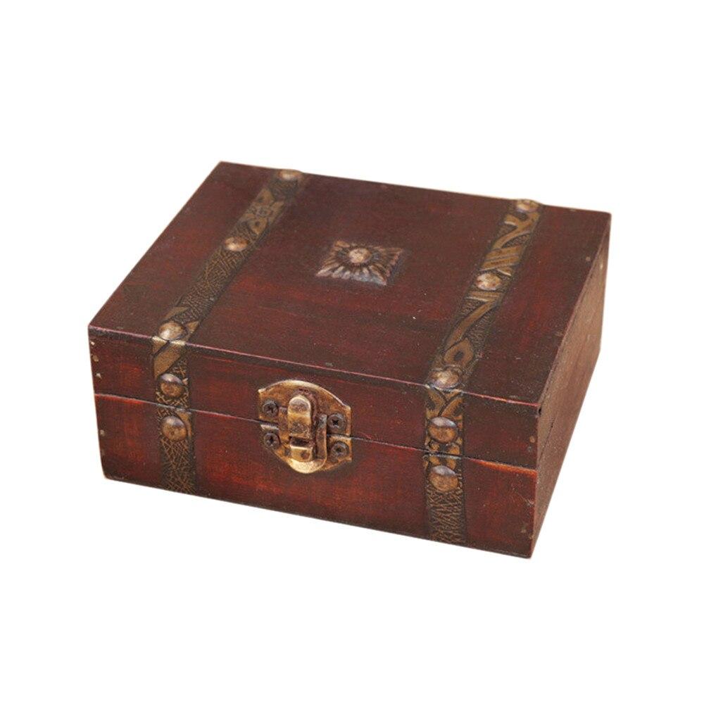 Caixa de armazenamento de madeira do vintage caixa de jóias caixa de armazenamento organizador anel presente dobrável mini caixa de madeira trinket jóias #25