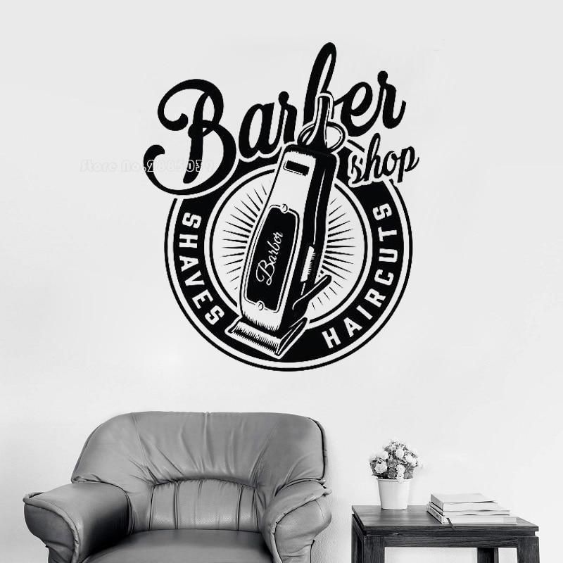 Vinilo de vinilo clásico de barbería, pegatinas de ventana murales, decoración de barbería Hipster extraíble, papel tapiz decorativo para salón de hombres LL499