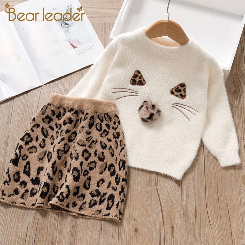 Bear Leader Girls Dress New Brand Princess Dress Cartoon Sweater+ A-Line Dress Girls Dresses Cute Kids Children Clothing 2pcs
