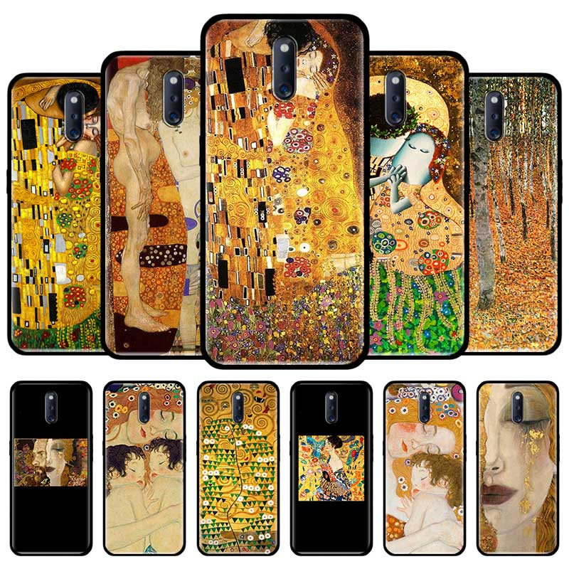 Чехол для телефона из ТПУ с рисунком Поцелуй Густава Климта для Oppo A52 A72 A92s A5 A9 2020 A31 F15 Reno3 F15 F11 Find X2 Neo Ace Black