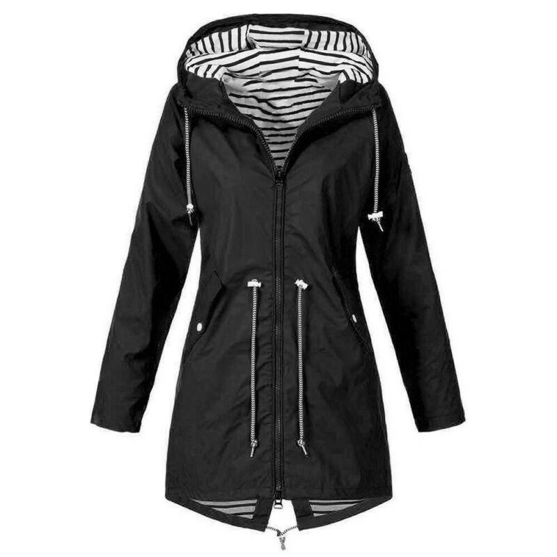 Más el tamaño de las mujeres de manga larga con capucha chaqueta de viento al aire libre de las señoras de lluvia impermeable abrigo con cremallera sudaderas con capucha sólido Outwear abrigo Mujer