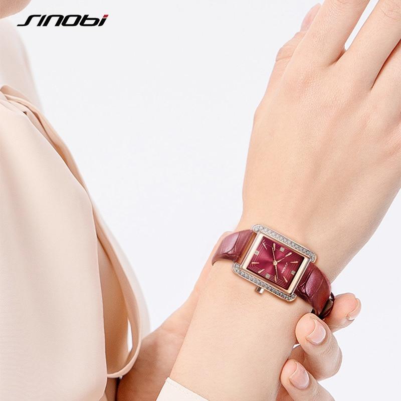 New Arrival Sinobi Elengant Women Watches Fashion Luxury Quartz Wristwatch Lady Leather Clock Rectangle Dial Watch Montre Femme enlarge