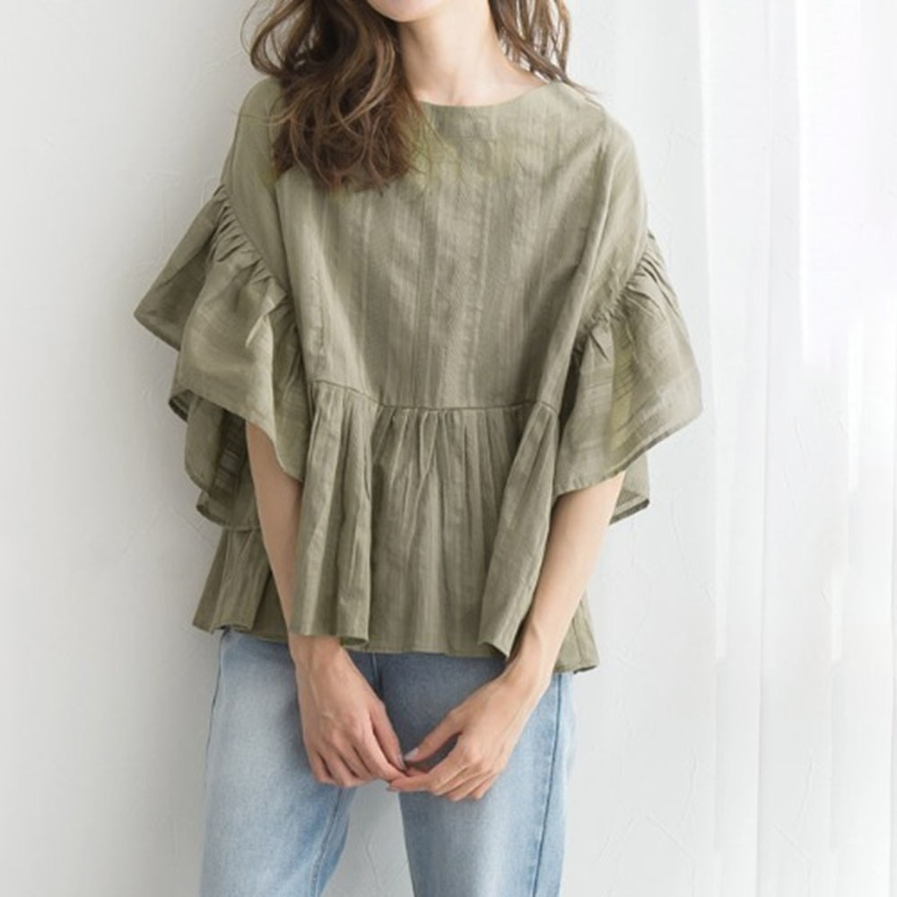 Blouses 2021 Women Tops Lotus Leaf Sleeve Autumn New Casual All-match Retro Harajuku Style Round Nec