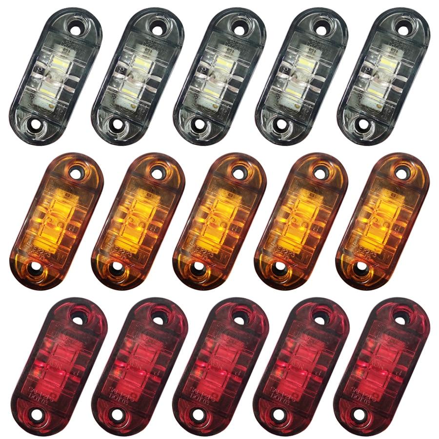 Сигнальные лампы, светодиоды, диодные лампы для прицепа, грузовика, желтого, оранжевого, белого, красного цветов, боковые габаритные огни, 12 ...