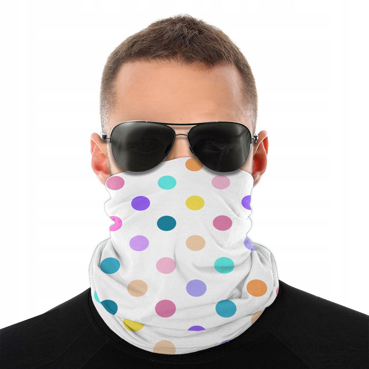 Colorful Confetti Polka Dots Scarf Half Face Mask Men Women Fashion Tube Mask Neck Bandanas Versatility Headband Biking Hiking