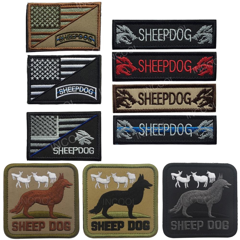 """כבשים כלב רקום תיקוני האמריקאי בארה""""ב דגל צבאי מורל תיקוני K9 כלבים טקטי Combat סמל רועים רקמת תגי"""