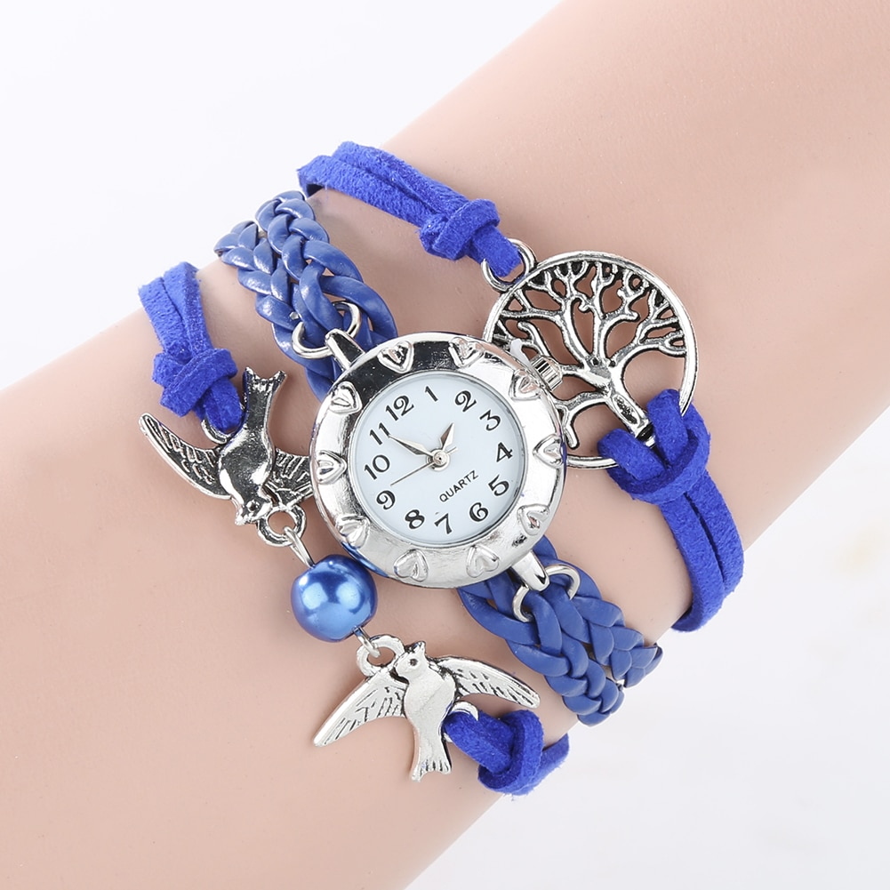 Reloj Mujer Fashion Watch Women Quartz Hollow Life Tree Birds Beads Charm Multilayer Retro Braided Bracelet Wrist Clock Gifts