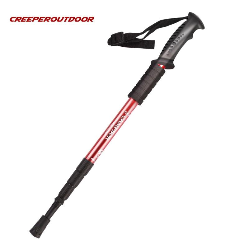 Telescopic Stick Aluminum Alloy 4 Section Adjustable Climbing Trekking Hiking Poles Waliking Sticks
