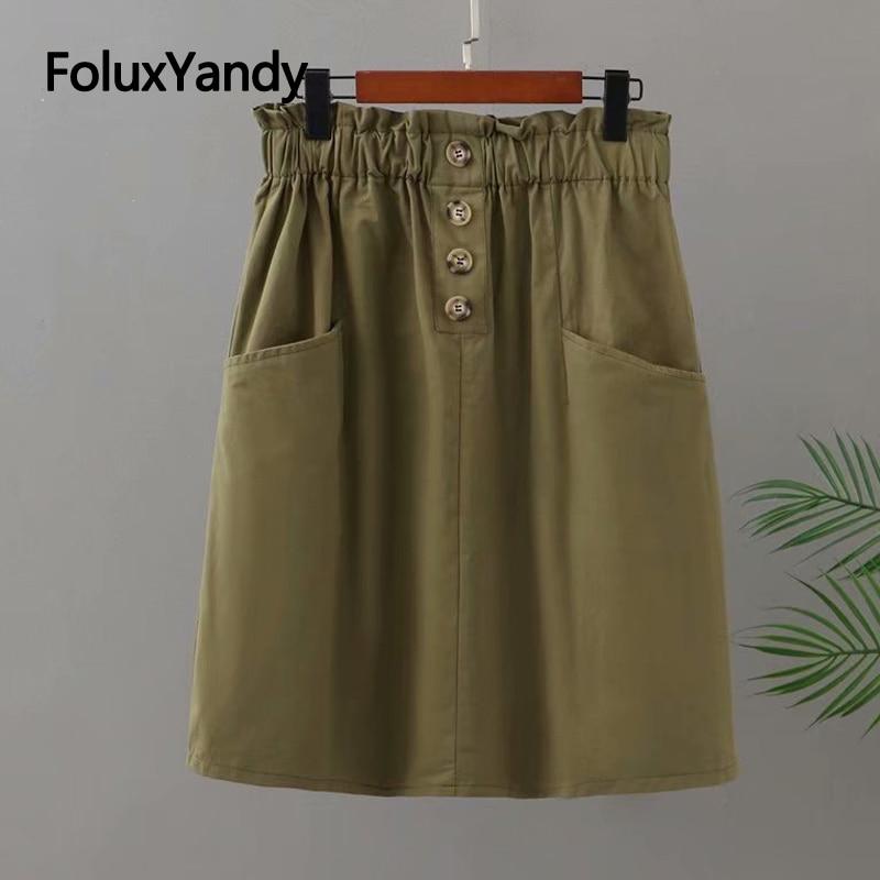 Юбка длиной до колен, юбка-трапеция в повседневном стиле на пуговицах, свободная юбка с высокой талией, 3, 4, 5 XL, KKFY5517 nike юбка длиной 3 4