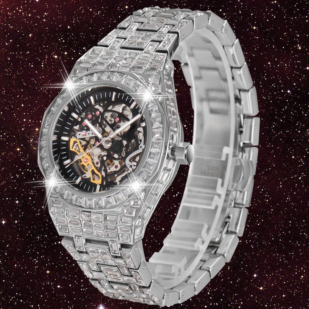 ساعة آلية بهيكل عظمي للرجال من توربيون ساعات أوتوماتيكية للرجال على شكل هيب هوب مرصعة بالماس ساعة يد حول AAA CZ Reloj Hombre